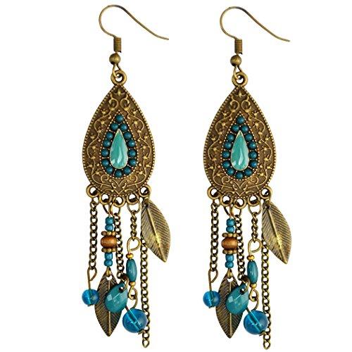 Boho Retro Brown Long Tassel Drop Beaded Charms Earring Fish Hook Dangle Earrings (Blue) -