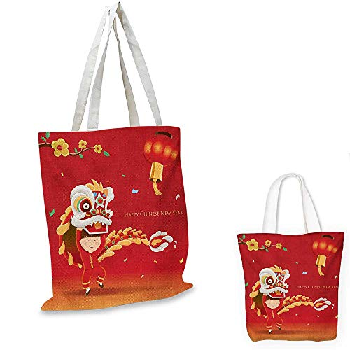 Chinese New Year easy shopping bag Little Boy Performing Lion Dance with the Costume Flowering Branch Lantern emporium shopping bag Multicolor. 16