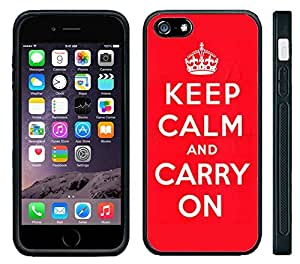 meilinF000Apple iPhone 6 Black Rubber Silicone Case - Keep Calm and Carry On red originalmeilinF000