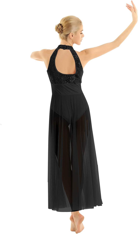 inlzdz Womens Lyrical Halter Neck Open Back Sequin Bodice Mesh Flowy Contemporary Ballet Dance Dress