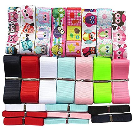 Chenkou Craft Grosgrain Ribbon Baby Owls Assorted Size Color Craft Hair Bows Hairband DIY Packing Lots Bulk (Owl Lots)