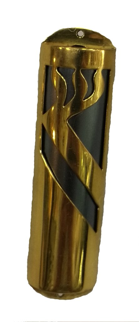 Modern Mezuzah Case With Highly Polished Black and Gold Design