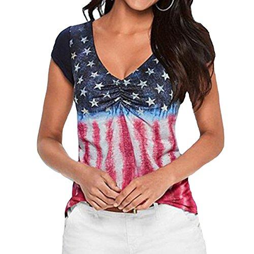 FAYALEQ Women's American Flag Print V Neck Tops Short Sleeve T-Shirt Slim Casual Blouse