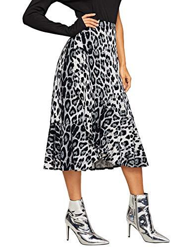 WDIRARA Women's Casual Leopard Print Ruffle Trim A Line Midi Skirt Multicolor-2 M