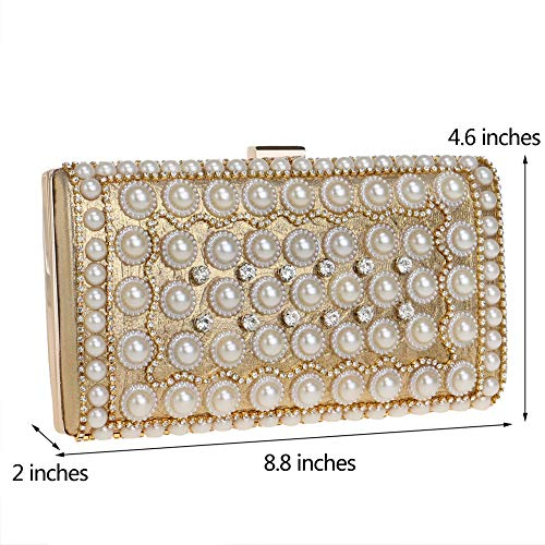 Clutch Chain Handbag Pearls Wedding Bags Gold Evening Dress For Purse Womens pqpAwd