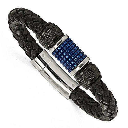En acier inoxydable poli Noir et Bleu IP Noir en caoutchouc noir bracelet en cuir-23cm