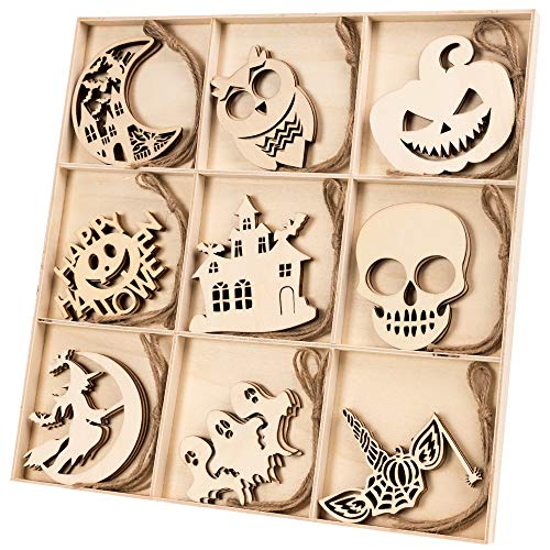 Wooden Halloween Crafts (N&T NIETING 30pcs Wooden Ornaments for Halloween, Unfinished Wood Cutouts Embellishments Hanging Ornament for Halloween Decorations, Kids Crafts DIY)