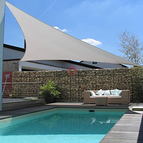 Patio Large Sun Shade Sail 24' x 24' x 24' Equilateral triangle Heavy Duty Strengthen Durable Outdoor Canopy UV Block Fabric A-Ring Design Metal Spring Reinforcement 7 Year Warranty -Light Gray by Patio Paradise (Image #4)