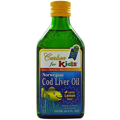 Carlson Labs, Norwegian Cod Liver Oil, For Kids, Lemon, 8.4