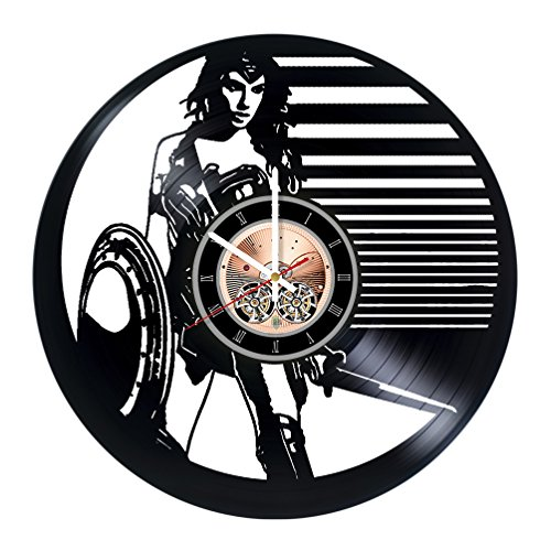 Wonder Woman Costumes Change Comic (Wonder Woman Vinyl Record Wall Clock - Home room wall decor - Gift ideas for friends, boys and girls, teens –DC Movie Unique Art Design)
