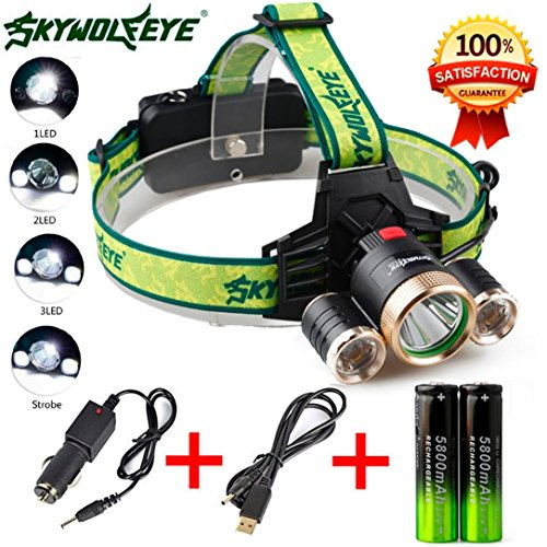 Flashlight,Baomabao 4Modes 9000Lm 3X XML T6+2R5 LED