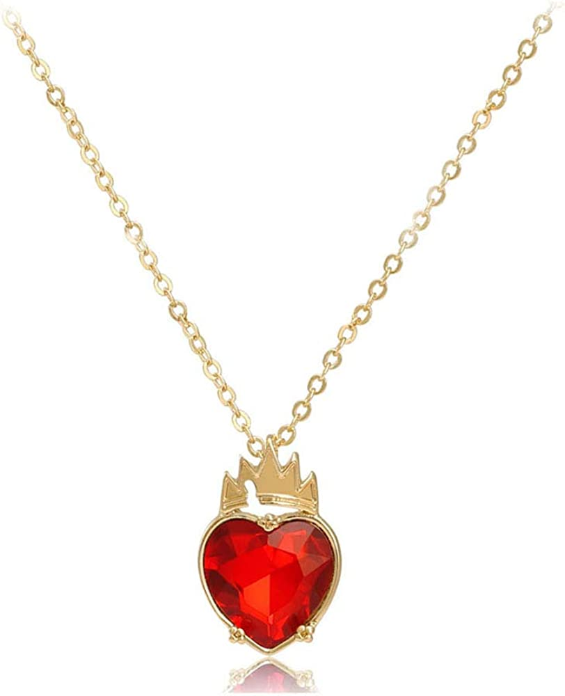 Red Heart Golden Crown Necklace Descendants Queen of Hearts Ruby birthstones Costume Fan Jewelry Valentine's Day Sweetheart Pre Teen Gift for Her (Evie)