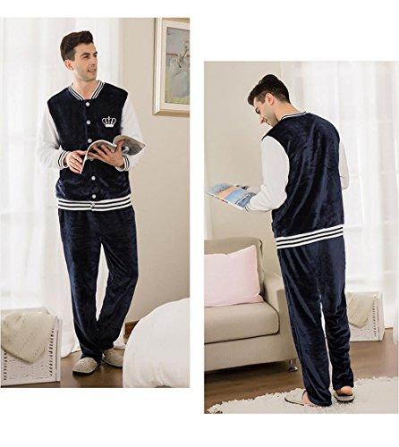 Neueste Männer Langarm Flanell Pyjama Morgenmantel Winter Nachtwäsche, die draußen getragen werden kann