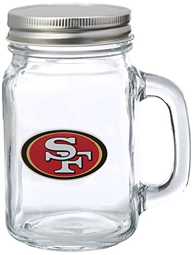 NFL Glass Mason Jar with Lid, 16-ounce, 2-Pack