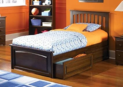 Atlantic Furniture Brooklyn Platform Bed with Raised Panel Footboard in  Antique Walnut - Twin - Amazon.com: Atlantic Furniture Brooklyn Platform Bed With Raised