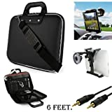 Black Cady Executive Leather Hard Cube Carrying Case with Shoulder Strap For Barnes & Noble NOOK HD 7-inch Tablet + Auxiliary+ Windshield Car Mount