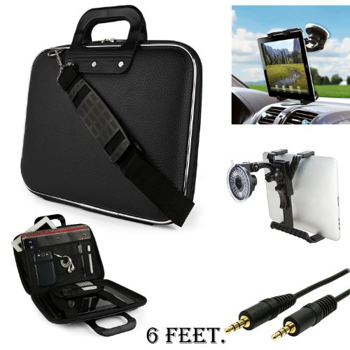 Black Cady Executive Leather Hard Cube Carrying Case with Shoulder Strap For Lenovo IdeaTab A2109 Tablet + Auxiliary + Windshield Car Mount (Case Idea Tablet A2109a Lenovo)