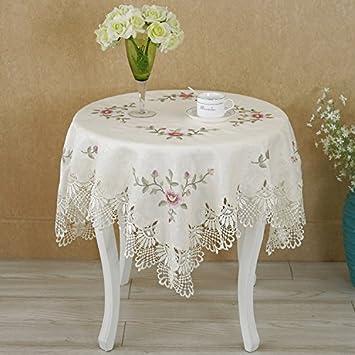 BLUELSS Mesa redonda europea paño caliente Flor de encaje bordado mantel elegante mesa de comedor cubierta toallas punto de cruz estilo hueco,como imagen ...