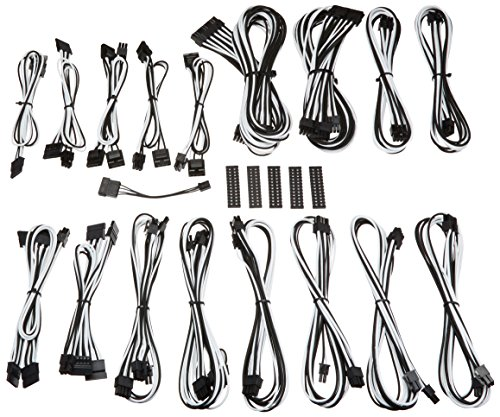 BitFenix ALCHEMY 2.0 PSU CABLE KIT for Corsair Power Supply AXi/HXi/HX,RM/Rmi/RMx/CS-M/TX-M/CX-M, for BitFenix Power Supply Whisper M , CSR-SERIES - Black/White (Rmx Series)