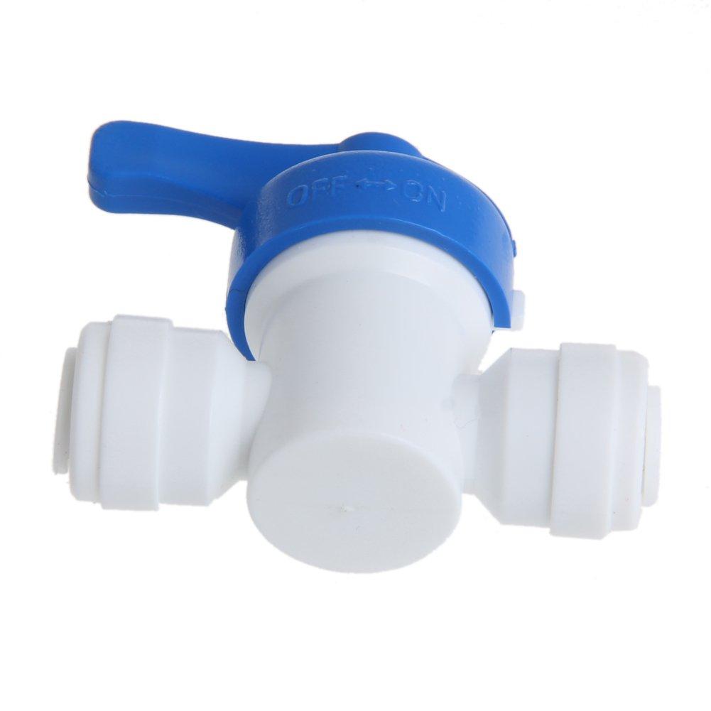 Kunststoff 1 St/ück. 6mm Manyo Kugelhahn Wei/ß Wassersystem-Anschluss Blau 1//4