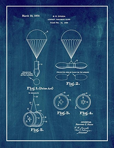 Aircraft Parachute Flare Patent Print Art Poster Midnight Blue with Border (8.5
