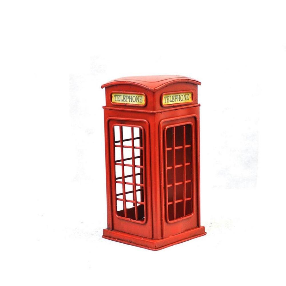 YANLIANG X & L casetas teléfono de Retro de calle modelo de hierro Hucha casa cumpleaños regalo accesorios de fotografía, rosa, 10*10*21cm: Amazon.es: Hogar