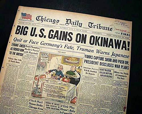 (BATTLE OF OKINAWA Operation Iceberg Japan SHURI 1945 Old World War II Newspaper CHICAGO DAILY TRIBUNE, June 2,)