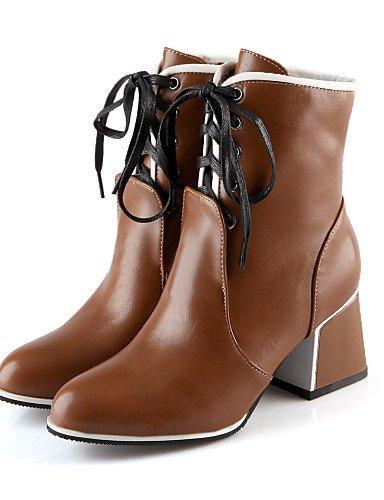 Citior Chunky Beute Stiefel Spitz Damen Schuhe Zehenbereich Geschlossen Kunstleder Damen Ferse Zulaufender Stiefel gxYrgqtwn