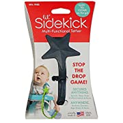 Lil' Sidekick - Attach Sippy Cups, Teethers, Toys, Pacifiers, and More! Easily Straps to Strollers, High Chairs, Car Seats, etc. - Stop Picking Up Your Child's Thrown Objects (Charcoal)