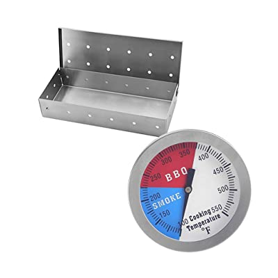 LOVIVER Meat Smoker Box for BBQ Wood Chips Grilling & Temperature Gauge: Garden & Outdoor