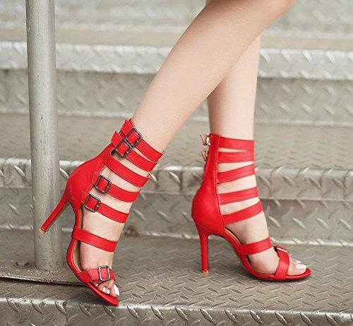 Sandali Donna Tacco Moda Alto Rosso MissSaSa 5AdFqz5