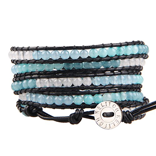 KELITCH Bracelet Leather Wrap with Mixed Beads Amazonite and Agate Bracelet Bangles Stackable Jewelry