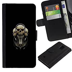 KingStore / Leather Etui en cuir / Samsung Galaxy S5 Mini, SM-G800 / Tri Cráneo