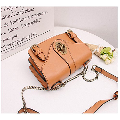Chain Shoulder Straps Square Use Messenger For Bag Everyday Bag Simple Magnetic Brown Pu Asdflina Portable Retro Suitable qw0x4XanIY
