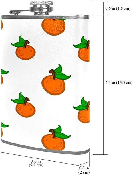 Naranja De Dibujos Animados Blanco Frasco de la cadera 8 oz ...