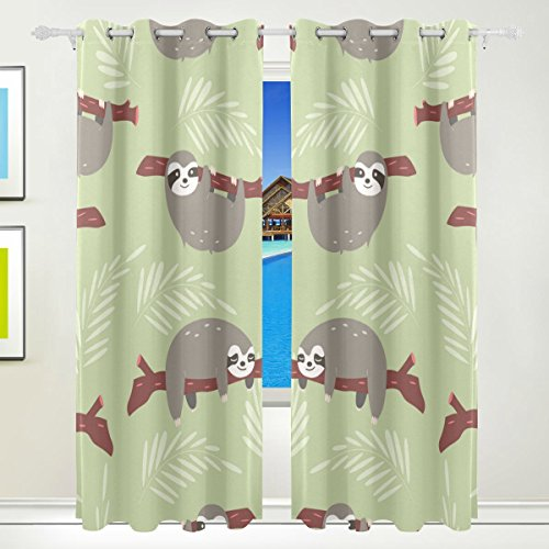 Vantaso Polyester Light Shading Window Curtains Cute Sloth 2 Pannels for Bedroom Kids Living Room 84 inch x 55 inch (Pannels Window)