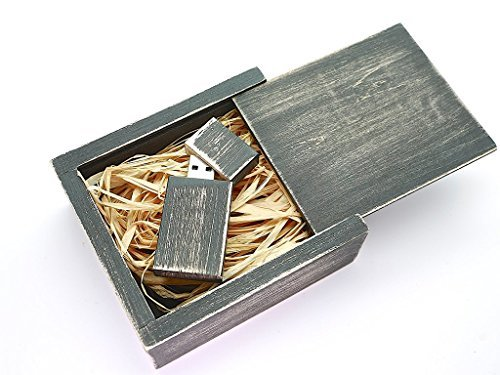 Antique Maple 8GB USB Flash Drive - - Stained in Nightshade Black - Inserted into a Matching Maple Stained Box with Raffia grass inside.