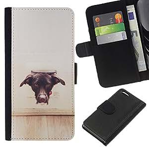 [Neutron-Star] Modelo colorido cuero de la carpeta del tirón del caso cubierta piel Holster Funda protecció Para Apple iPhone 5C [Perro Vignette Marrón Negro Labrador]