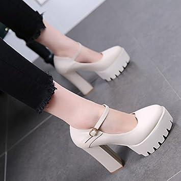 MDRW-11Cm De Tacon Alto Solo Zapato Mujer Otoño 942fd3184145