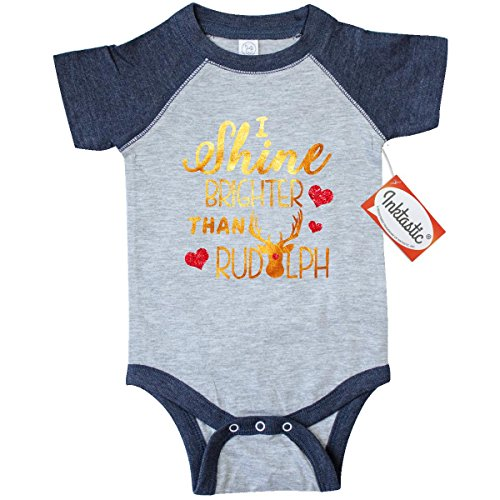 Sparkle Vintage Onesie (Inktastic Baby Girls' I shine brighter than rudolph Infant Creeper 24 Months Vintage Heather and)