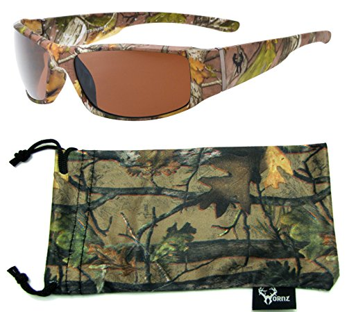 Hornz Brown Forrest Camouflage Polarized Sunglasses for Men Full Frame Wide Arms & Free Matching Microfiber Pouch – Brown Camo Frame – Amber Lens