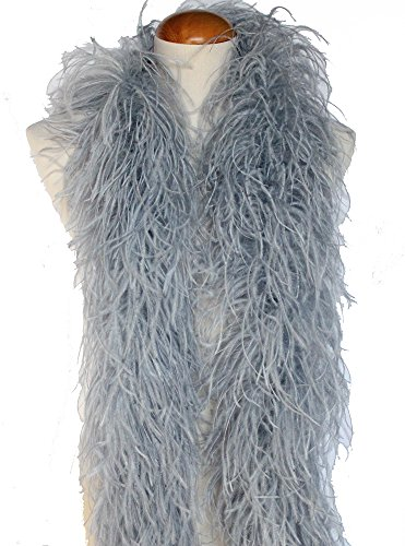 4ply Ostrich Feather Boas, Over 20 Colors to Pick Up (Silver Grey)