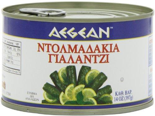 Aegean Stuffed Grape Leaves (Dolmadakia) , 14-Ounce Cans (Pack of 6)