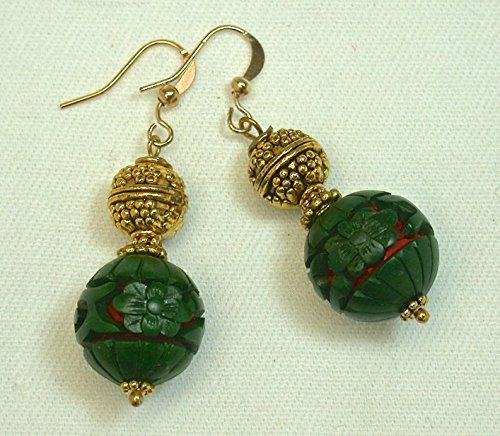 Vintage Genuine 1970s Chinese Green Red Cinnabar Bead Earrings, Ornate Gold Bead