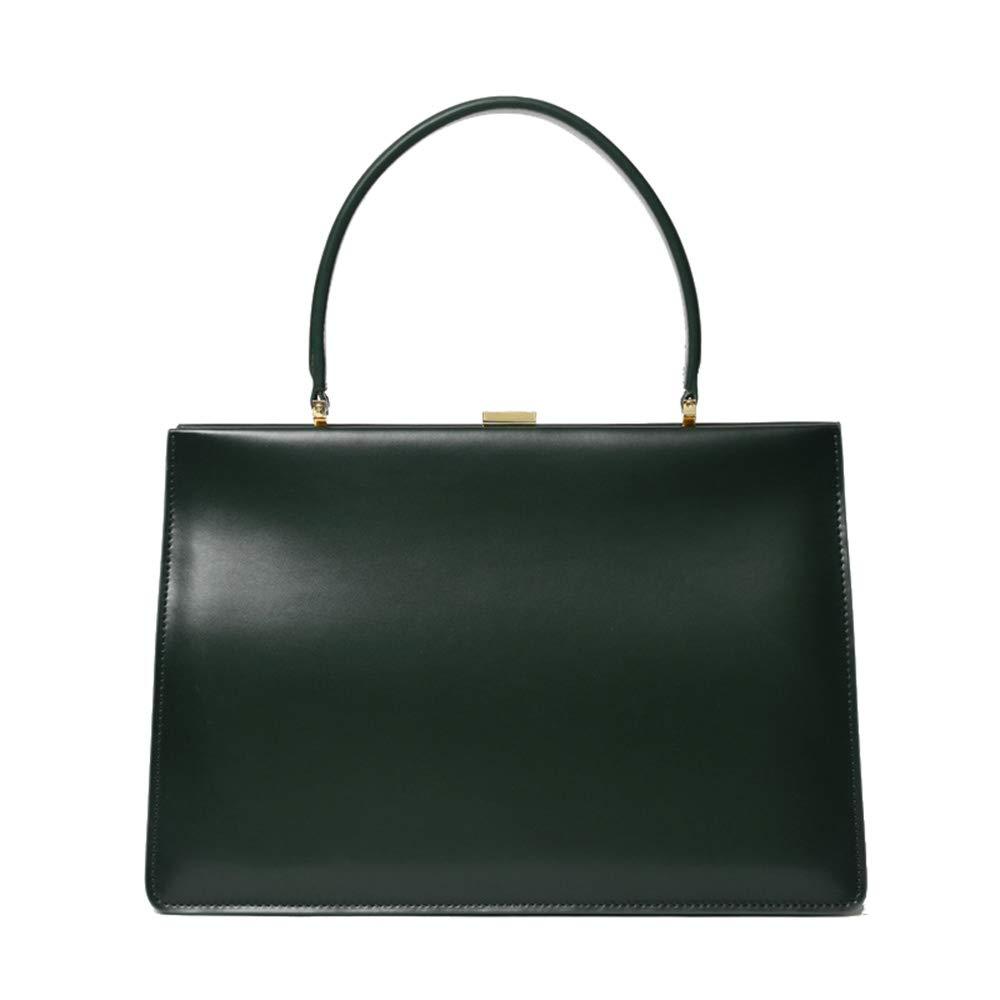 婦人用バッグ シンプルでスタイリッシュな女性のヴィンテージレザーハンドバッグポータブルシンプルなブリーフケース折りたたみオルガン形状トップハンドルトートバッグ (色 : 緑) B07RKWGQ8N 緑