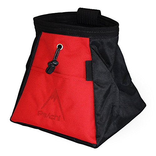 [Psychi Chalk Bouldering Bucket Stand Bag for Rock Climbing with Front and Rear Zip Storage (Red)] (Large Chalk Bag)