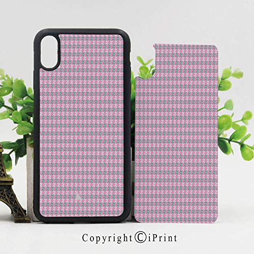 Case for iPhone X,Spring Flower Motifs in White and Green Chain Pattern on Pink Background Shockproof Sleek Design Anti-Scratch Anti-Slip Hard Protective Cases Cover for iPhone X (5.8 inch), Baby Pin