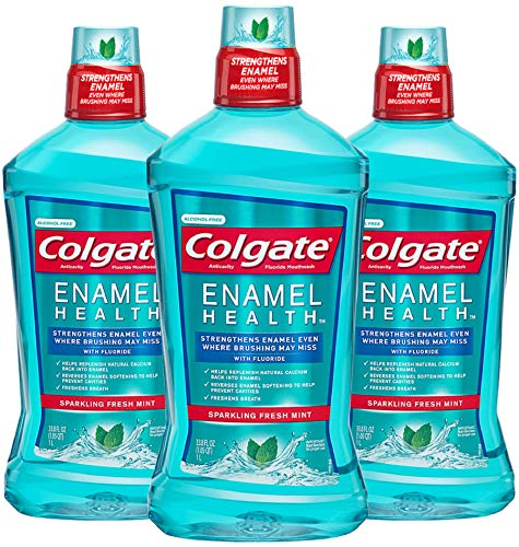 Colgate Enamel Health Alcohol Free Mouthwash, Fresh Mint - 1L, 33.8 fluid ounce (3 Pack) (Best Mouthwash For Enamel)
