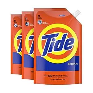 Best Epic Trends 51puGxREabL._SS300_ Tide Liquid Laundry Detergent Soap Pouches, High Efficiency (HE), Original Scent, 93 Total Loads (Pack of 3)