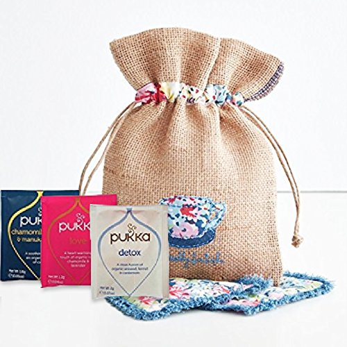 Pukka Organic Tea Variety Pack (30 bags - 10 flavors) in a Beautiful Hand Embroidered Burlap Bag with two coasters (Pukka Sampler)